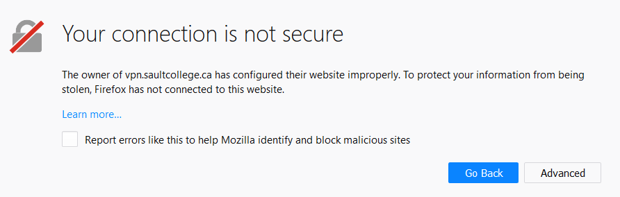 Firefox - Your connection is not secure