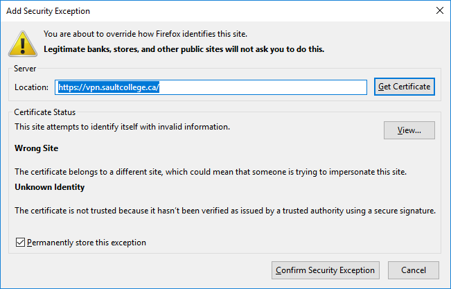 Firefox - Confirm Security Exception